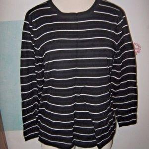Black White Stripe Boat Neck Stretch Knit Sweater